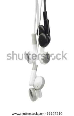 Black and White Audio Earphones on Isolated Background