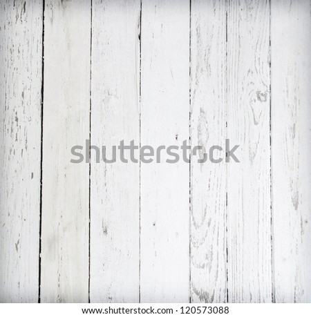 Black and white background of weathered painted wooden plank #120573088