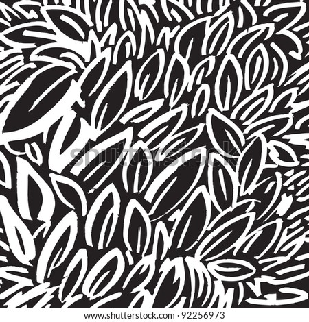 black and white background with leaves