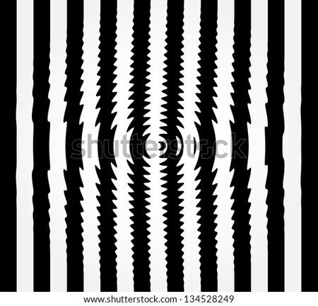 Black and white background with stripes and optical illusion