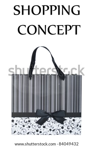 Black and white bag with bow isolated on white - SHOPPING CONCEPT