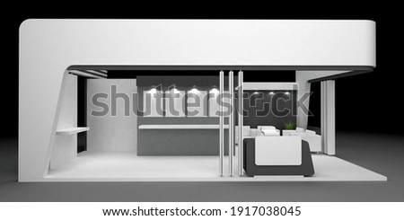 Black and white booth design 3d render Foto stock ©