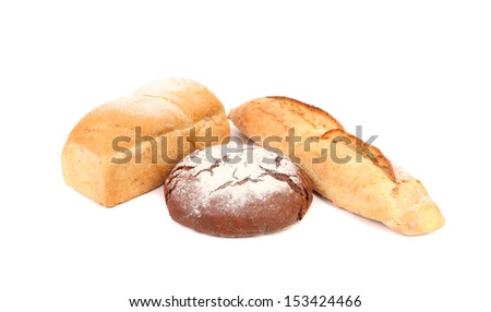 Black and white bread. Isolated on a white background.