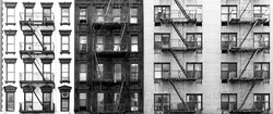 Black and white brick buildings on Second Avenue in the Upper East Side neighborhood of New York City NYC