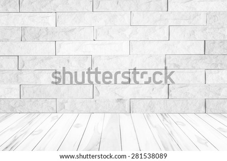 Black and white brick wall texture background / Brick wall texture.white wooden wall texture background.Wood terrace with the blurred background