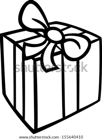 Black and White Cartoon Illustration of Christmas or Birthday Present or Gift Object Clip Art for Coloring Book