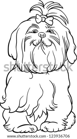 Black and White Cartoon Illustration of Cute Maltese Dog with Bow for Coloring Book