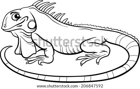 black and white cartoon illustration of funny iguana lizard reptile