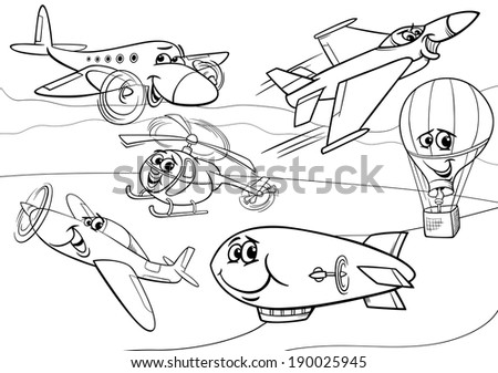Black and White Cartoon Illustration of Funny Planes and Aircraft Characters Group for Coloring Book