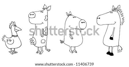 Cartoon Farm Animals Black And White