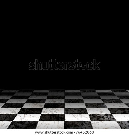 Black And White Checker floor Grunge Room. Checker floor lead into dark empty space