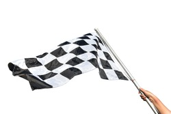 Black and white checkered flag , isolated on white.