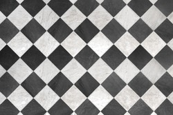Black And White Checkered Floor Tiles, background, texture