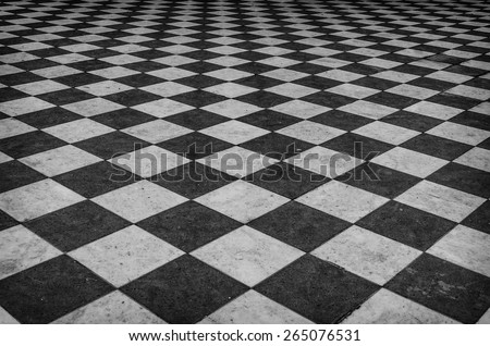 Black and white checkered marble floor pattern #265076531