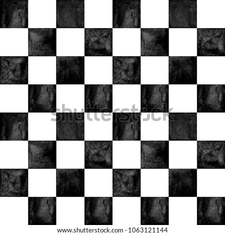 Black and white checkered plaid seamless texture. Watercolor hand drawn pattern background. Watercolour chess trendy background. Print for cloth design, textile, fabric, wallpaper, wrapping, tile.
