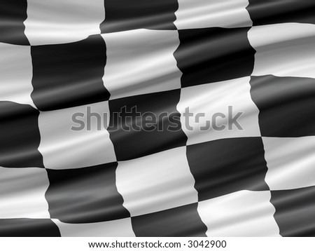black and white checkered racing flag waiving detail