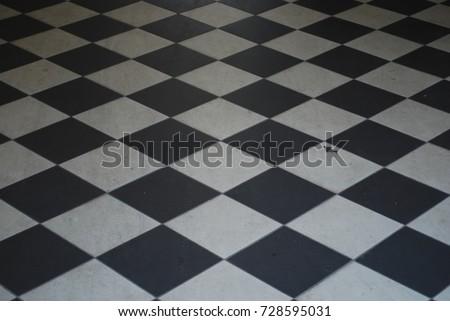 Black And White Checkered Tile Floor - Background