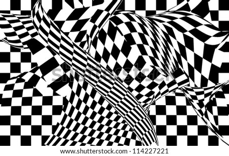 Black and white chess cellular abstraction