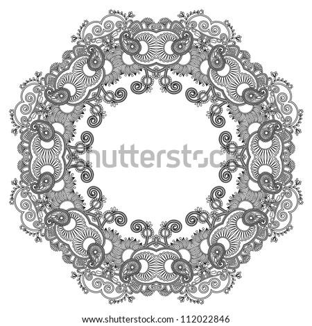 black and white circle ornament, ornamental round lace. Raster version