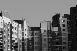 black and white city and buildings