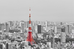 Black and White City Landscape ,Skyline with Red Tokyo Tower  / Representative of Japan / Downtown and Metropolitan Cityscape form Aerial View Point / Economy ,Financial and Business