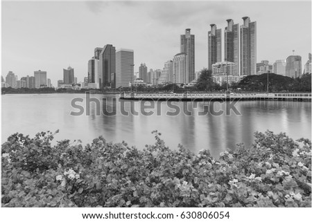 Black and White, City office building over water lake in public park, cityscape abstract background