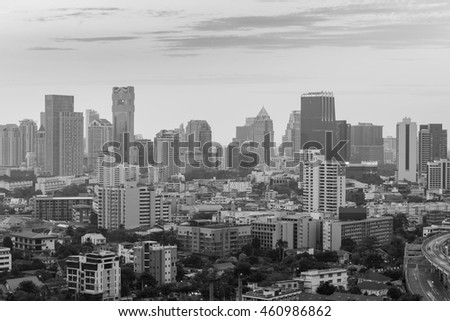 Black and White, City office building tower, cityscape background
