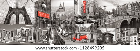 Black and white city with red elements. Collage. Paris, London, New York. Panorama for glass panels. High quality image for skinali. Panoramic view. Retro style photo. Panorama city.