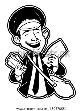 black and white clipart postman