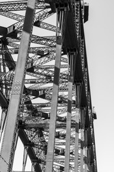 Black and white close-up of Sydney harbour bridge