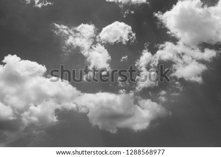 black and white clouds and sky. Dramatic sunlight of blue sky and clouds in Black and White. Black and white clouds texture on the dark sky background abstract. #1288568977