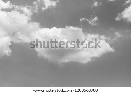 black and white clouds and sky. Dramatic sunlight of blue sky and clouds in Black and White. Black and white clouds texture on the dark sky background abstract. #1288568980