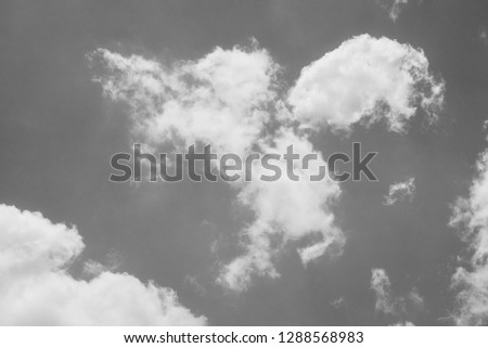black and white clouds and sky. Dramatic sunlight of blue sky and clouds in Black and White. Black and white clouds texture on the dark sky background abstract. #1288568983