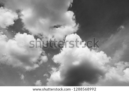 black and white clouds and sky. Dramatic sunlight of blue sky and clouds in Black and White. Black and white clouds texture on the dark sky background abstract. #1288568992