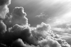 black and white clouds in the sunset