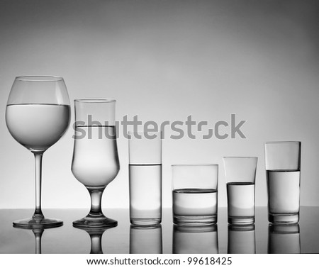 Black and white cocktail glasses