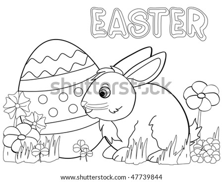 Black and white coloring template for Easter bunny & egg with flowers.