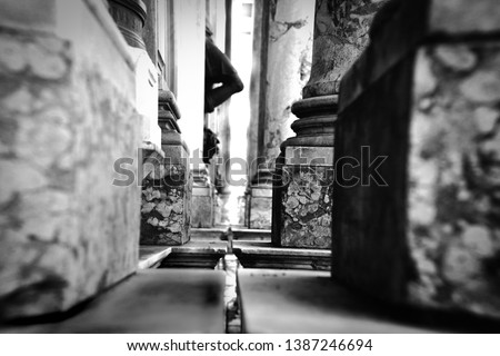 Black and white column. Black and white picture. Black and white architecture. Black and white detil from city. #1387246694