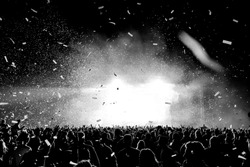 Black and White Confetti Silhouette Crowd at a Music Festival - Backlit.