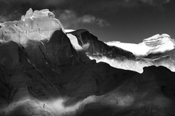 Black-and-white contrast landscape with mountains in Tibet.