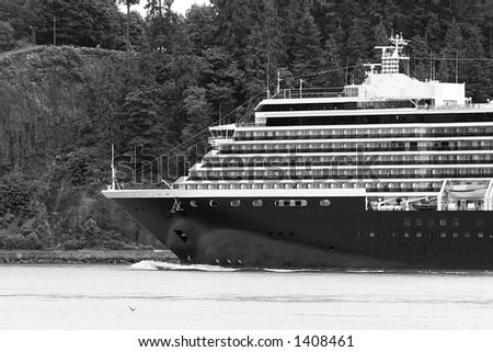 Black and white Cruise Ship Closeup