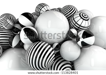 black and white 3d balls still life