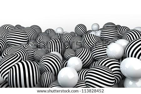 black and white 3d balls still life