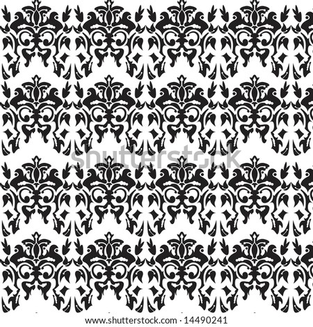 black and white damask background. stock photo : Black and white