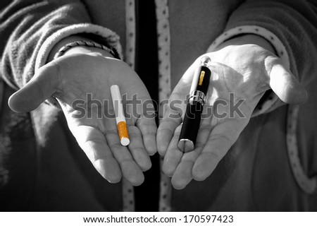 Black and white desaturated which has the concept of choosing the type of cigarette