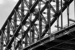 Black and White detail of Sydney Harbour Bridge. Austrailia