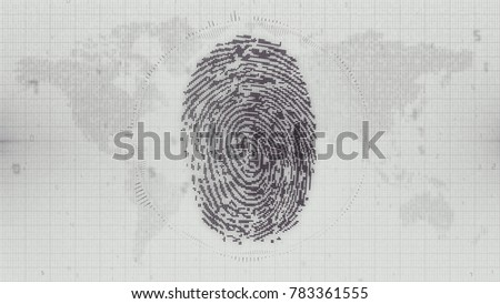 Black and white digital fingerprint access concept