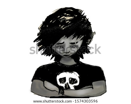 Black and white digital illustration of Emo boy with skull t-shirt. Despondent looking with arms folded defensively. Teen, pre teen age. Black hair.