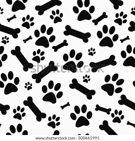 Black and White Dog Paw Prints and Bones Tile Pattern Repeat Background that is seamless and repeats