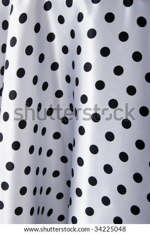 Black And White Dots Pattern Silk Textile. - stock photo